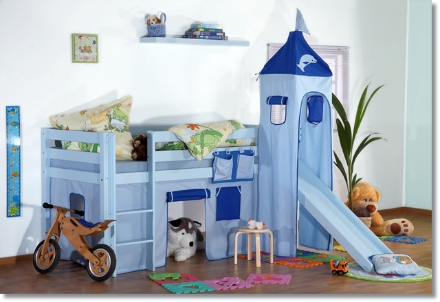 hochbett mit rutsche buche massiv blau lackiert lattenrollrost matratze r2057dpbl. Black Bedroom Furniture Sets. Home Design Ideas