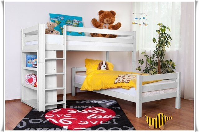 Etagenbett Weiss Buche Massiv : L bett etagenbett massiv buche weiß lackiert r2024 blauboy