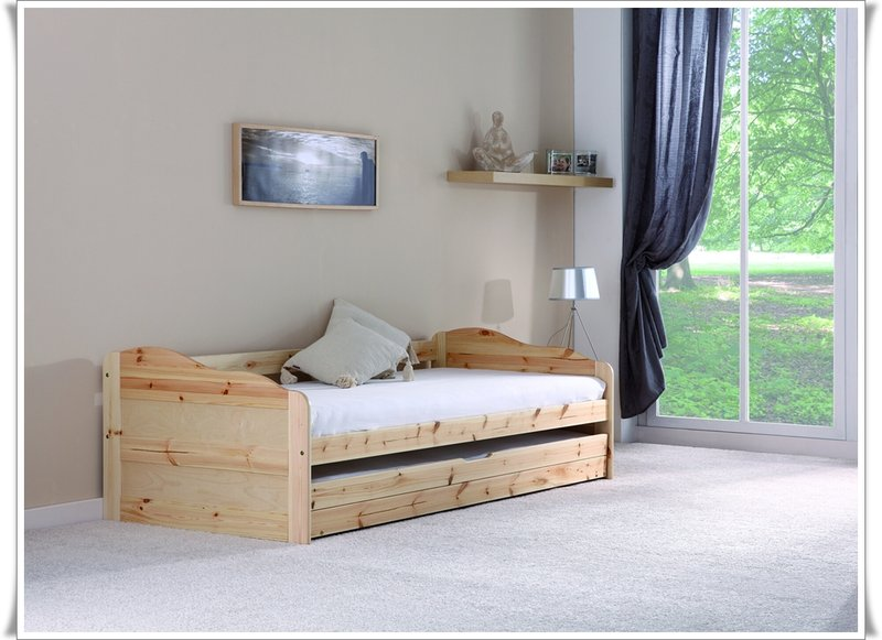 maxi bett mit bettkasten kiefer massif natur. Black Bedroom Furniture Sets. Home Design Ideas