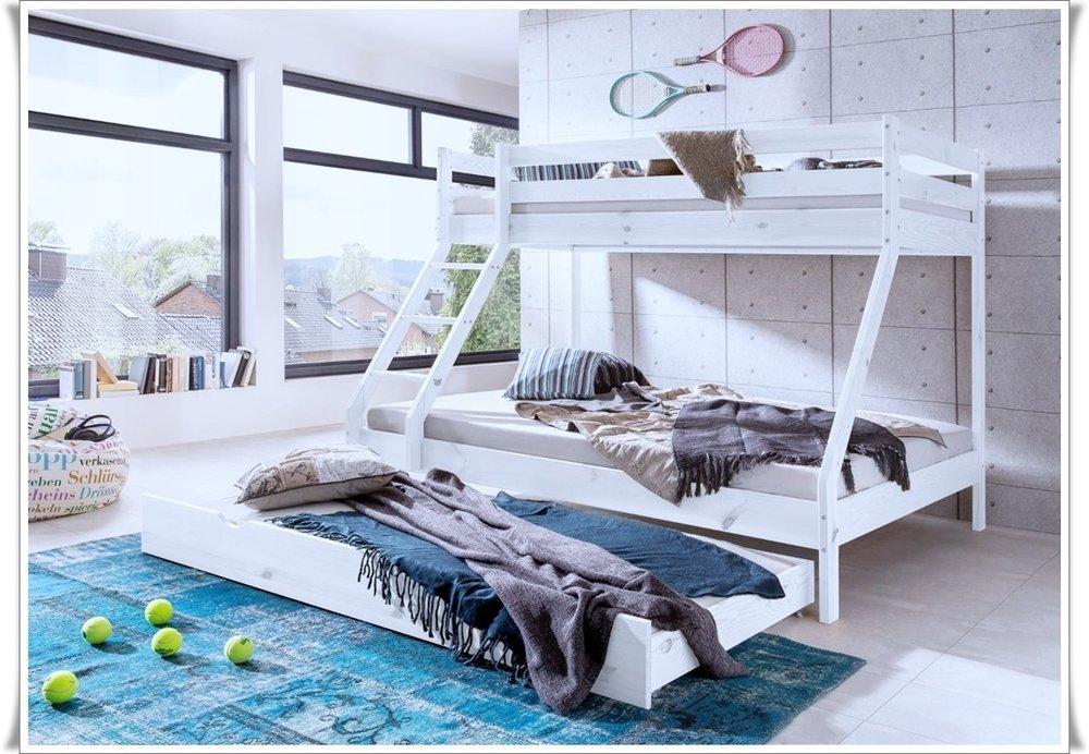 Katamaran Etagenbett Kiefer Weiß 140 X 200 90x200